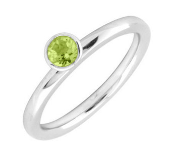 Simply Stacks Sterling 4mm Round Peridot Sol. Stackable Ring - J298728
