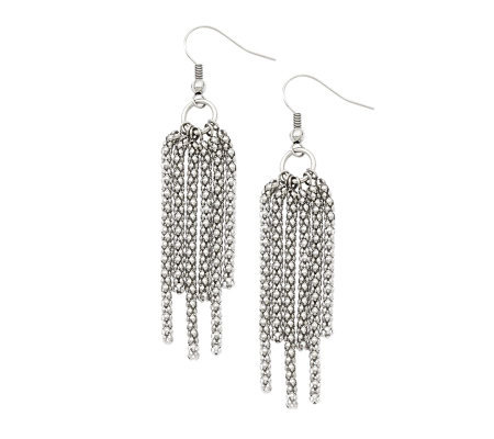 Stainless Steel Multi-Strand Dangle Earrings