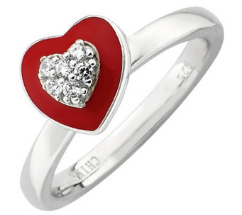 Simply Stacks Sterling Polished Red Epoxy Enamel Heart Ring - J308928