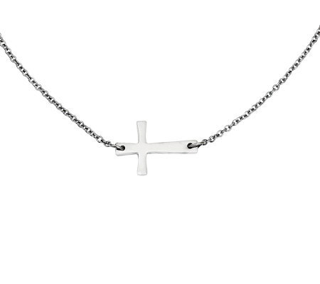 "Stainless Steel 17"" Polished Horizontal Cross Necklace"