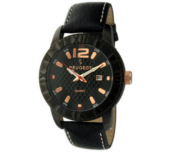 Peugeot Men's Black Leather Strap Sport Bezel Watch - J313428
