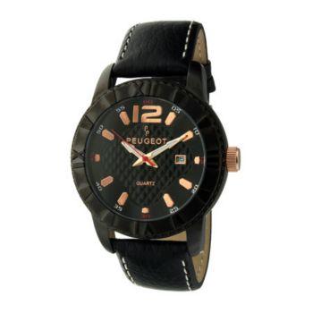 Peugeot Men's Black Leather Strap Sport Bezel Watch