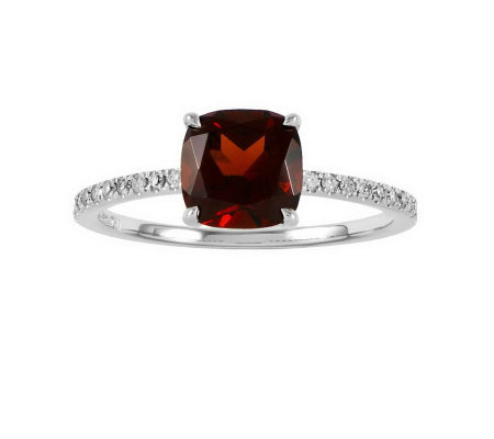 Choice of Cushion-Cut Gemstone Ring, 14K WhiteGold