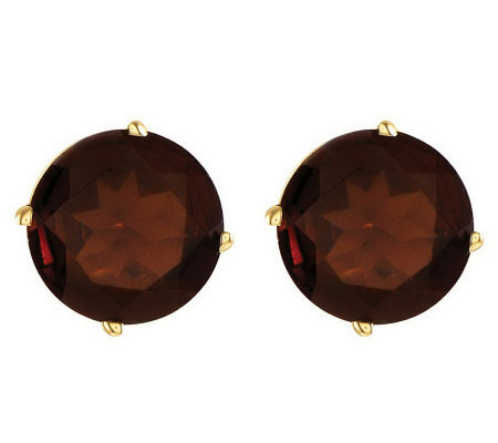 Large Round Gemstone Stud Earrings, 14K Gold