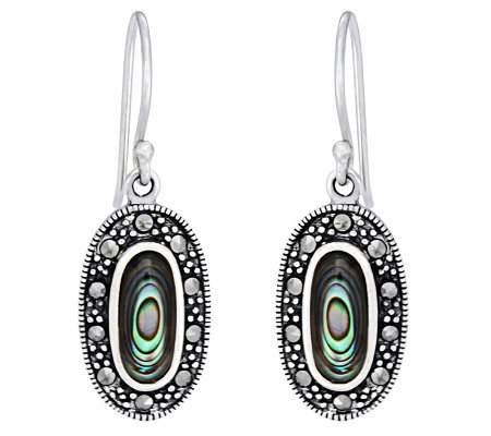 Sterling Marcasite and Abalone Oval Dangle Earrings