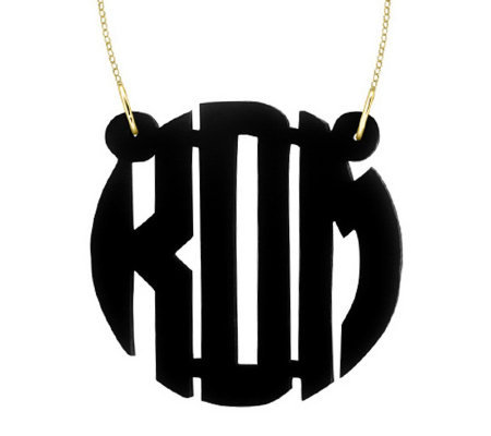 "1-1/2"" Acrylic Block Monogram Necklace, 24K Plated Sterling"