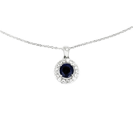 "Sterling Round Gemstone Halo Pendant with 18"" C hain"