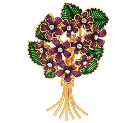 Joan Rivers Crystal & Enamel Bouquet of Violets Pin