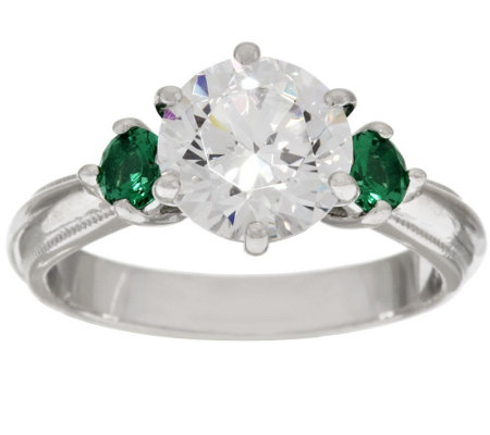 Diamonique & Simulated Gemstone 3 Stone Ring, Platinum Clad