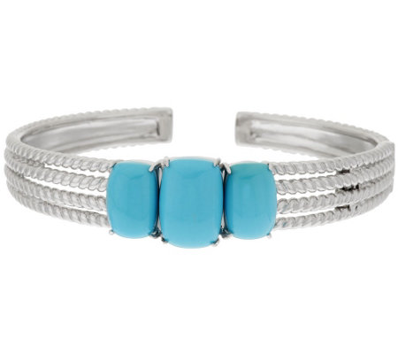 Sleeping Beauty Turquoise Sterling Silver Rope Design Hinged Cuff