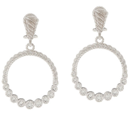 Judith Ripka Sterling & 1/2 ct tw Diamonique Hoop Earrings