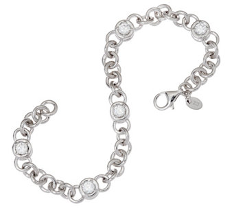 "Diamonique 2.50 cttw 6-3/4"" Line Bracelet, Sterling - J321128"