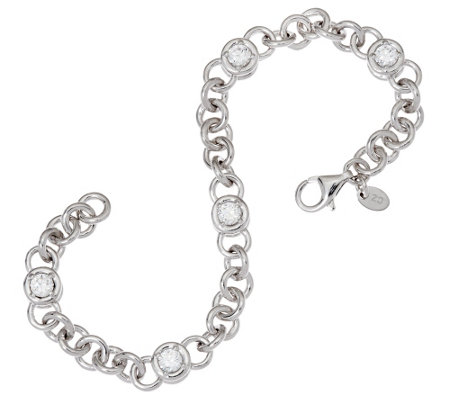 "Diamonique 2.50 cttw 6-3/4"" Line Bracelet, Sterling"