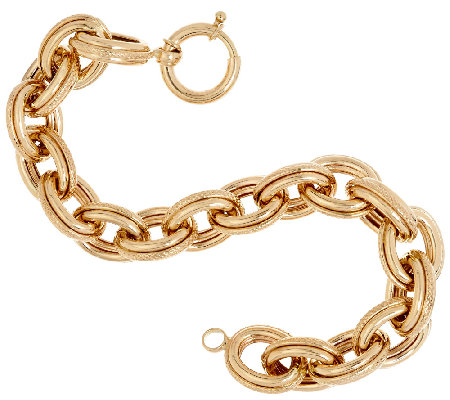 "14K Gold 6-3/4"" Polished & Textured Oval Rolo Link Bracelet, 14.5g"
