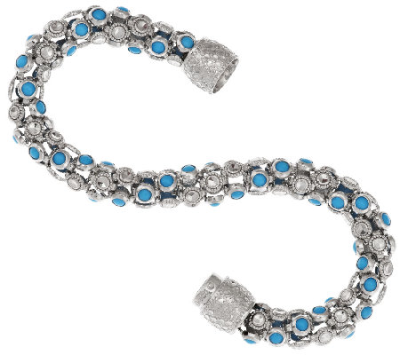 """As Is"" Sleeping Beauty Turquoise Diamond Cut 6-3/4"" Bracelet"