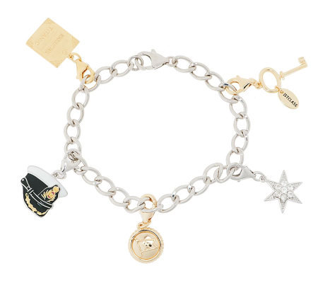 "As Is"" Titanic Sterling/14K Clad Charm Bracelet 7"