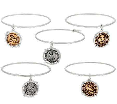 The Elizabeth Taylor Set of 5 Silvertone Coin Charm Bangles