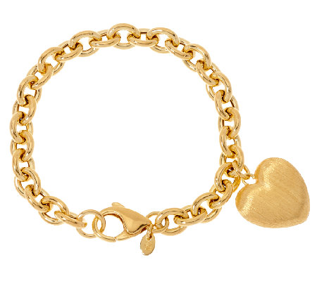Veronese 18K Clad Heart Dangle Rolo Charm Bracelet