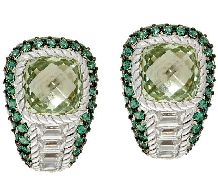 Judith Ripka Sterling Green Mint Quartz & Pave' Earrings