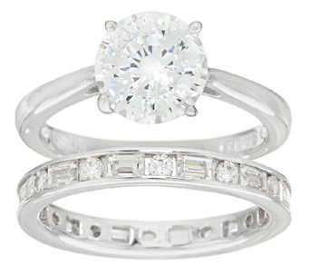 Diamonique 100-Facet Round Bridal Ring Set, Platinum Clad - J324128