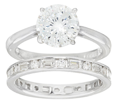 Diamonique 100-Facet Round Bridal Ring Set, Platinum Clad