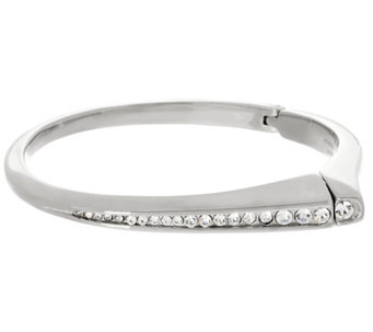 Stainless Steel Polished Graduated Crystal Bangle - J325028