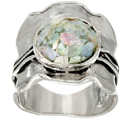 Sterling Silver Scalloped Roman Glass Ring by Or Paz