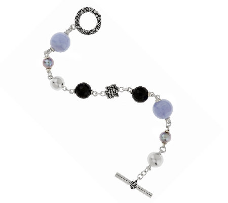 """As Is"" Michael Dawkins Sterling & Multi-Gemstone Toggle Bracelet"