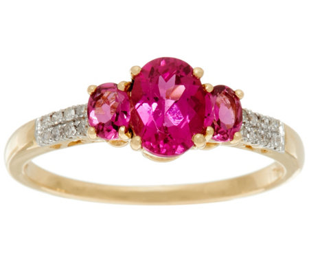 Rubellite & Diamond 3-Stone Design Ring, 14K Gold, 1.10 ct tw