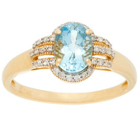 Santa Maria Aquamarine and Diamond Ring, 14K Gold 0.80 ct