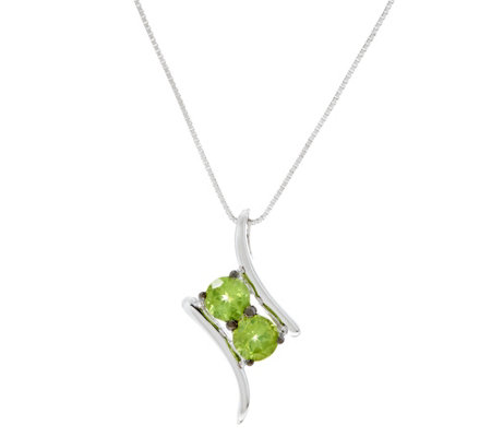 Gemstone Two Stone Sterling Silver Pendant on Chain
