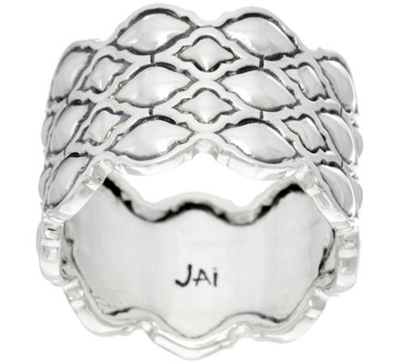 JAI Sterling Silver Taj Texture Band Ring