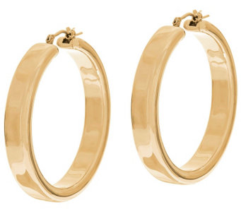 """As Is"" Oro Nuovo 1-1/2"" Polished Round Hoop Earrings, 14K - J330728"