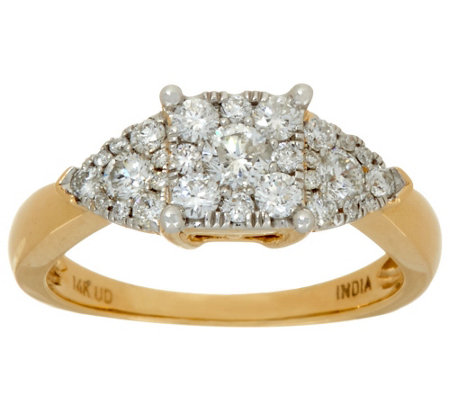 """As Is"" Princess Cluster Design Diamond Ring 14K, 3/4ct"