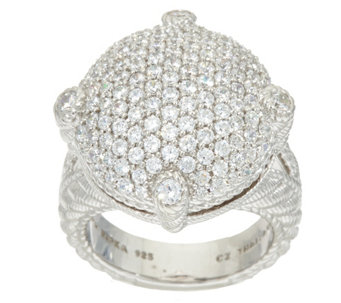 """As Is"" Judith Ripka Sterling Pave' 1.45 cttw Diamonique Ring - J332628"
