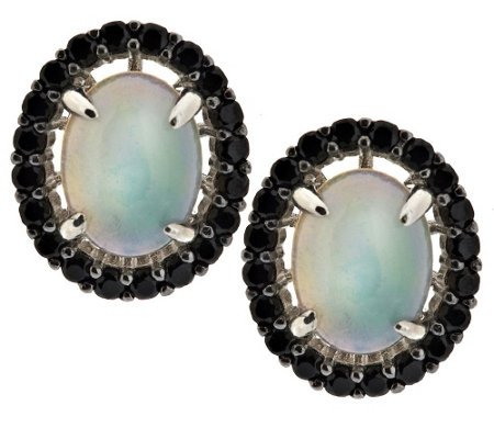 """As Is"" 1.80 ct tw Ethiopian Opal & Black Spinel Sterling Stud Earrings"