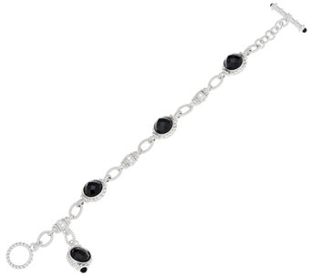 "Judith Ripka 7-1/4"" Sterling Faceted Black Spinel Link Bracelet - J333328"
