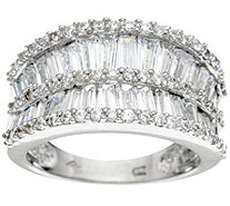 """As Is"" Diamonique Baguette Concave Band Ring, Sterling - J334228"