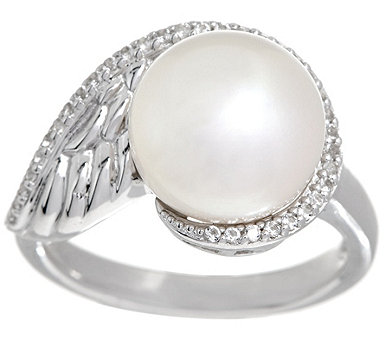 Honora Cultured Pearl White Topaz Sterling Angel Wing Ring - J334928