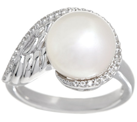 Honora Cultured Pearl White Topaz Sterling Angel Wing Ring