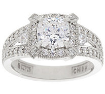 Diamonique Cushion Halo Bridal Ring, Platinum Clad - J335028