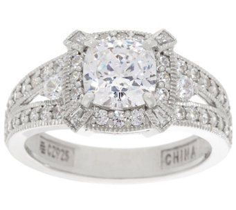 diamonique cushion halo bridal ring platinum clad j335028 - Qvc Wedding Rings