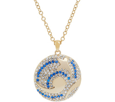 Grace Kelly Collection Swirling Sea Reversible Pendant w/Chain