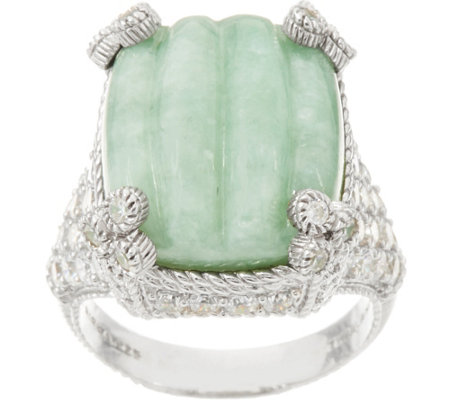 Judith Ripka Sterling Carved Jade Monaco Ring