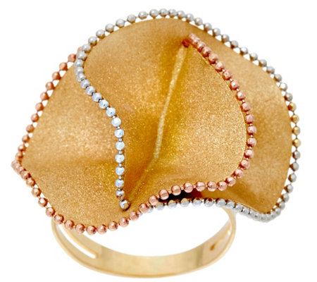 Italian Gold Tri-color Textured Flower Ring, 14K
