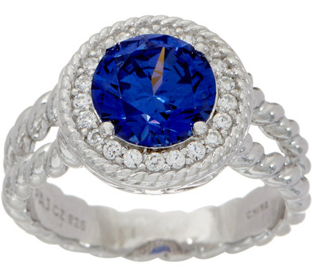 Diamonique and Simulated Tanzanite Ring, Sterling