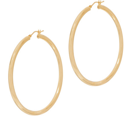 "Italian Gold 2"" Round Polished Hoop Earrings 14K Gold"