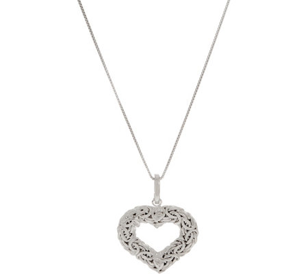 "Sterling Silver Heart Shaped Byzantine Enhancer w/ 18"" Chain"