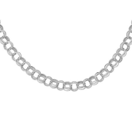 14K White Gold Triple-Link Textured Necklace, 15.3g