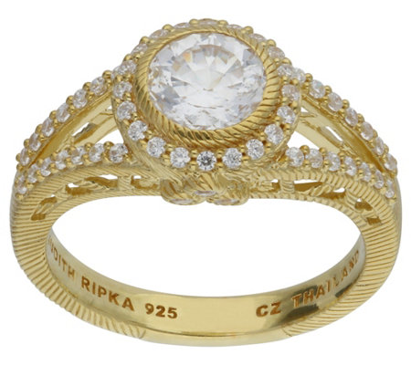 Judith Ripka 14K Clad Diamonique Round Halo Ring